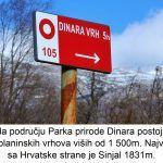 Na području Parka prirode Dinara postoji više od planinskih vrhova viših od m Najveći vrh sa Hrvatske strane je Sinjal m x